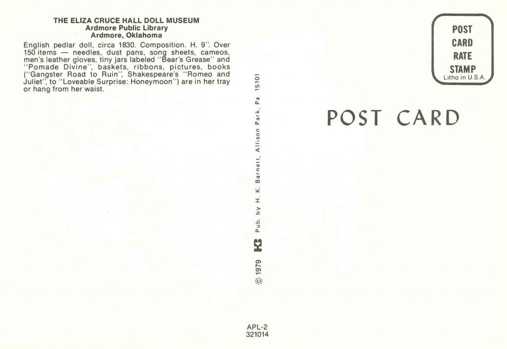 Back of postcard describing the English pedlar doll