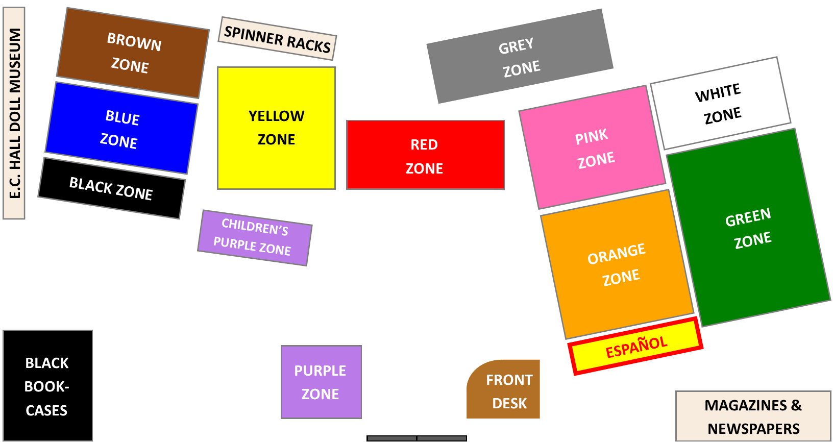 Map of the internal layout of the library